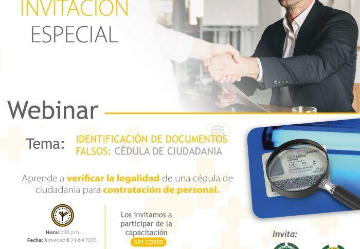 Webinar: Retos de la Seguridad en Nuestra Región – Identificación de Documentos Falsos:  Cédulas de Ciudadania.